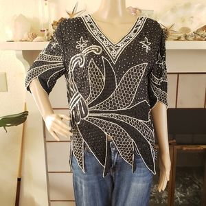 Silk Heavy Beaded Party Top Black White Size S